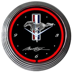 Blue Oval Industries Tribar Logo Red Light Up Neon Wall Clock 15-Inch for Ford Mustang