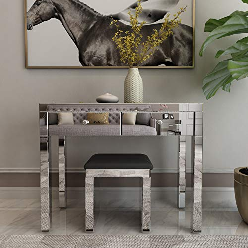 Mecor Mirrored Console Table w/Vanity Bench,Makeup Vanity Table Sets w/ 2 Drawers&Stool Silver Finish Home Office Writing Desk w/Chair