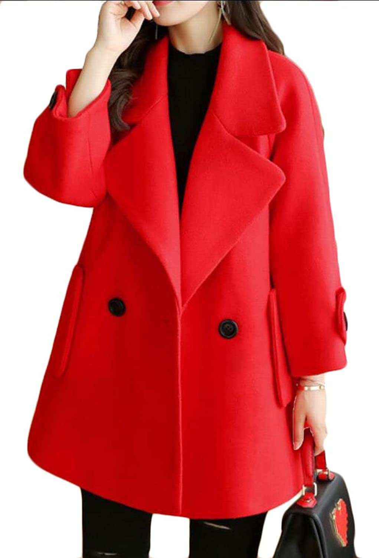 GAGA Women's Slim Fit Lapel Collar Wool Parka Coat Overcoat