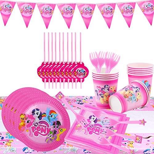 ZSWQ Gebutstag Party Set Einhorn Party-Set 62-pcs Einweg Pink Mädchen Einhorn Geburtstag Geschirr Kit Teller Becher für 10 Kinder Geburtstagsgeschenk,Kindergeburtstag,Party Deko,Baby Shower