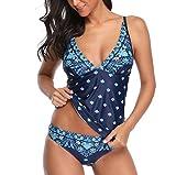 COOKI Women Swimsuit Floral Printed Tankini Top Bikini Swimwear Two Piece...