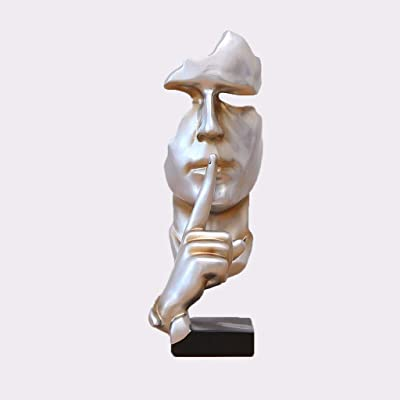 11x4x4inch PP/&DD Silence is gold Figurine,Creative Abstract crafts Statues,Sculptures.For Office Living room Art gift Home decorations-champagne 28.5x11x10cm