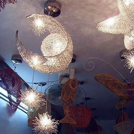Luce fredda Lampadario a LED plafoniera luna e stella lampadario in ferro lampadario bianco caldo camera da letto decorazione soggiorno