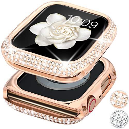 Goton Bling Case kompatibel mit Apple Watch Case 40 mm Serie 6/5/4/SE, Frauen Mädchen Luxus Funkelnde Kristall Diamant Edelstahl Lünette Case Cover für iWatch Serie 6/5/4/SE (Rosegold, 40 mm)