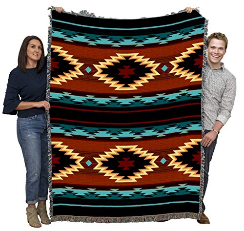 Pure Country Weavers Anatolia - Southwest Native American Inspired Tribal Camp Blanket Throw Woven from Cotton - Made in The USA (72x54)