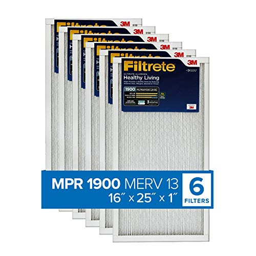 Filtrete 16x25x1, AC Furnace Air Filter, MPR 1900, Healthy Living Ultimate Allergen, 6-Pack (exact dimensions 15.69 x 24.69 x 0.78)
