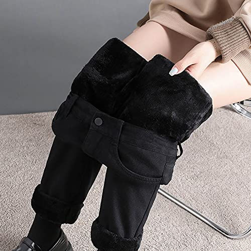 Damen Jeans High Waist Bootcut Straight Thermohose Winter Warm Gefüttert Fleece Hosen Lang Winterhose Damen Thermo Fleecehose Warm Leicht Outdoor Sporthose