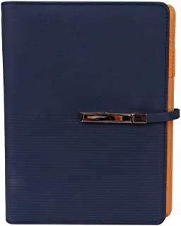 A5 Leather Journal Diary Notebook Strap Buckle Lined Craft Paper Writing Note Pads Bookmark Ruler Business Portfolio Cards Pocket Flip-Closure Pen Holder 6 Round Ring Binder Calender Pen Slots