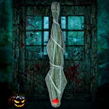 Cocoon Corpse Halloween Decorations Lighted LED Eyes - Hallomas Party Indoor Outdoor Creepy Hanging Haunted House Props Spooky Tree Decor 72 inches(Batteries Not Included)