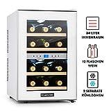 Klarstein Reserva - Weinkühlschrank, Getränkekühlschrank, Kühlschrank, 34 Liter, 2 programmierbare Kühlzonen, 12 Weinflaschen, 7-18 °C, Innentemperaturanzeige, weiß [Energieklasse B] - 3