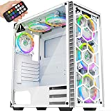 MUSETEX USB 3.0, 6 × ARGB Fans ATX Mid-Tower case with Voice Remote Control, 2 Tempered Glass Panels PC Gaming Case, White case Support E-ATX (903MS6W)