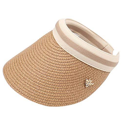 GUOCU Eltern-Kind Sonnenblenden Visors Sommer Strandhut UV-Schutz Strohhüte Flexible Sonnenhut mit Metall Biene Dekoriert Kaffee Kopfumfang 55-59cm