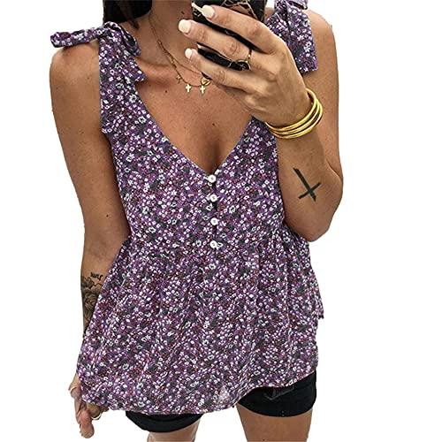 Camiseta Sin Mangas Mujer Verano Flores Imprimir Escote En V Profundo Sexy Botones Exquisitos Cordones Mujer Tops Sin Mangas Temperamento Dulce Juguetón Mujer Chalecos Sueltos D-Purple M
