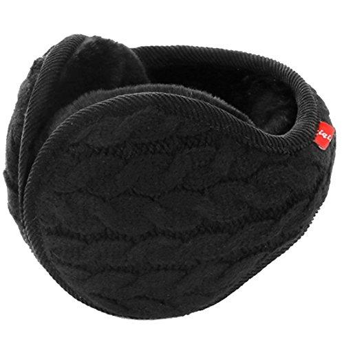 LerBen® Winter-Ohrenschützer, Wollgarn, Zopfstrick, verstellbar, Ohrenschützer Gr. One size, Schwarz
