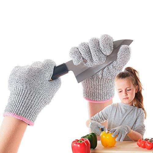 LauterSchutz® für Kinder: Schnittfeste Premium Handschuhe aus Kreuzfaser-PE-Stoff - Level 5 SCHNITTSCHUTZ [Deutscher Hersteller] Schnittsichere Handschuhe in Kindergrößen (L (8-12 Jährige))