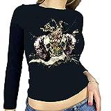 Camiseta corta Y2K para mujer de Halloween con estampado gótico, manga larga, entallada, recortada, para niña, para adultos, con estampado de esqueleto, informal, de los años 90, Negro-f, S