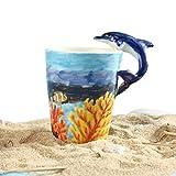 3D Hand-painted Cute Animals Mug, Ceramic Coffee Mug (13.66oz) (Dolphin)