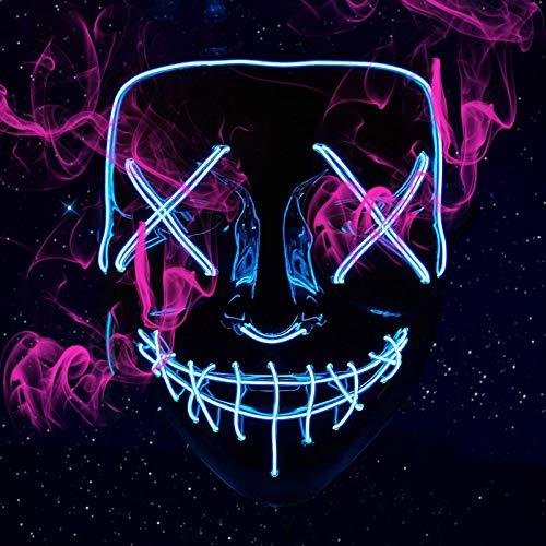 Namotu LED Blau Purge Maske, mit 3 Blitzmodi steuerbar Konstant EIN, langsames Flackern, schnelles Flackern, leuchten Maske für Party Arty Kostüm Cosplay Dekoration Fasching Karneval