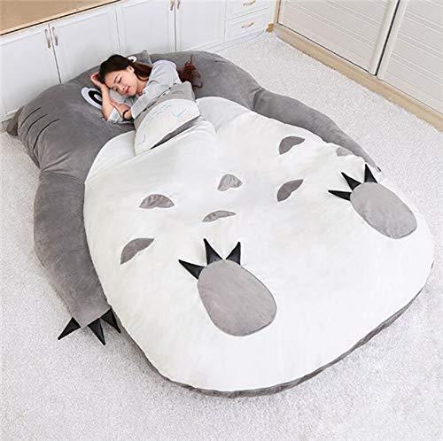 Qianyuyu Tatami Matratze Matten Cartoon Plüsch Totoro Lazy Schlafsofa Anime Sitzsack Matratze für Kinder Kreative Schlafsaal Matratze Klappbarer Kleiner Schlafzimmer Stuhl,001,120 * 80 cm