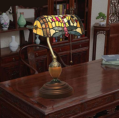 Lámparas de mesa de banquero de cristal manchada de 10 pulgadas Dragonfly Lámpara de escritorio de la lámpara de escritorio de la vendimia con la base de la aleación de zinc para la sala de estar