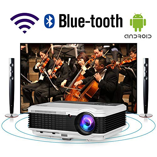 HD Movie Projector Wifi Bluetooth LED Home Theater Outdoor 5000 Lumens Android Wireless Video Projector WXGA 1080P Support Zoom HDMI USB VGA Audio AV RCA for Smartphone Tablet DVD PS4 TV Box PC Laptop