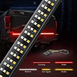 MICTUNING 60 inches Triple 504 LEDs Tailgate Strip Light Waterproof with 4-Way Flat Connector Wire - Solid Amber Turn Signal, Red Brake Running, White Reverse Lights