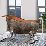Magnus Home Products 73' Walden Hammered Antique Copper Slipper Clawfoot Bathtub, Polished Interior, 73' L x 36 3/8' W