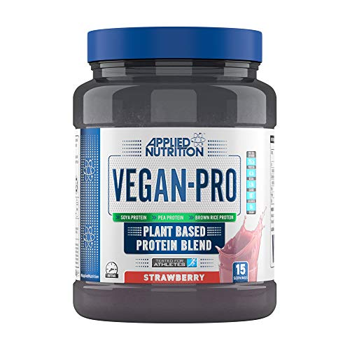 Applied Nutrition Vegan Pro Plant Based Protein Blend Powder Supplement Low Fat & Sugar Natural Flavour & Colour with Essential Amino Acids 450g - 15 Servings (Strawberry)