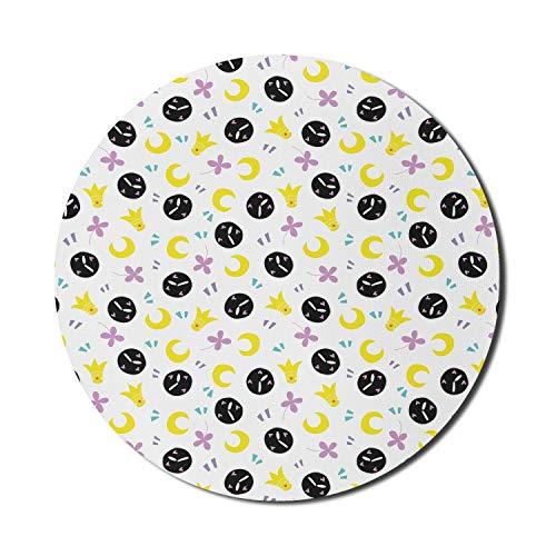 Runde Mausmatte, abstraktes Mauspad für Computer, Gekritzel-Entwurfsmuster der sich wiederholenden Krone-Halbmond-Blume und -Uhr, rundes rutschfestes Gummi-modernes Basis-Mauspad, mehrfarbiges Mauspad