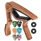 Gitarren-Capo mit Gitarren-Pick, LEKATO LGC-1 Capo für akustische E-Gitarren Ukulele-Bass-Mandoline und Banjo mit 6 Picks und 2 Riemenschlössern kostenlos (Rosewood)