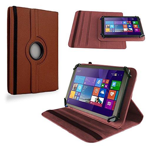 NAUC Tasche für TrekStor SurfTab Wintron 7.0 Hülle Tablet Schutzhülle Cover Hülle 360°, Farben:Braun