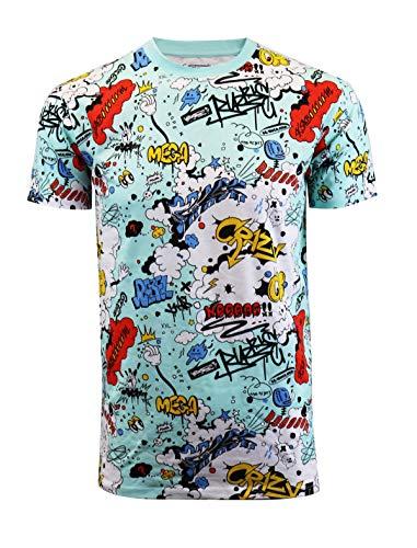 SCREENSHOTBRAND-S11025 Mens Hip-Hop Premium Hipster Tee - Graffiti Crazy Cartoon Writing Print T-Shirt-Teal-XLarge