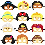 TICIAGA 12 Pack Princess Toy Masks for Little Girls Birthday Party Favors, Queen Costume Mask Cosplay, Party Supplies for Decorations, Pretend Play Accessories, Princess Role Playing Game