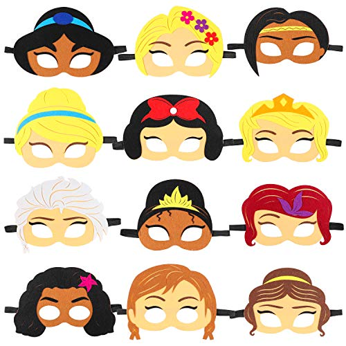 Ticiaga Princess Felt Masks for Kids Party Cosplay, Princess Theme Birthday Party Masks with 12 Different Styles, Kids Costumes Dress-Up Party Accessories for Princess Role Pretend Playing Game Favor