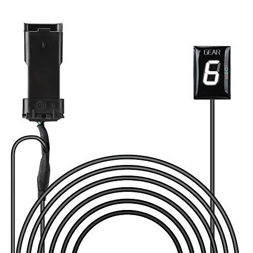 Ganganzeige Motorrad, IDEA Wasserdichte 6 Speed LED Digital Display Schaltanzeige Schalthebel Plug & Play für Ducati Hyper Monster Scrambler Supersport Superbike(Weiß)