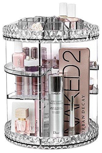 Sorbus 360° rotación de organizador de maquillaje, ajustable Carrusel de almacenamiento para cosméticos, artículos de tocador, y más-Ideal para tocador, cuarto de baño, dormitorio, armario, cocina