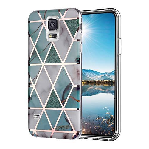 Misstars Hülle für Galaxy S5, Bling Glitzer Geometrischer Marmor Muster TPU Silikon Weiche Schutzhülle Slim Handyhülle Kompatibel mit Samsung Galaxy S5 / S5 Neo, Grün Blau