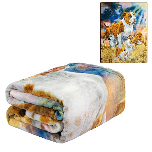 JPI Plush Throw Blanket - Pits & Puppies - Queen Bed 79'x 95' - Special Edition Faux Fur Blanket for Beds, Sofa, Couch, Picnic, Camping