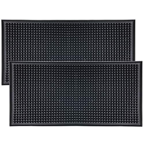 Tappetino di servizio in gomma, 12'x 6' nero, può essere utilizzato in ristoranti e bar (confezione da 2)