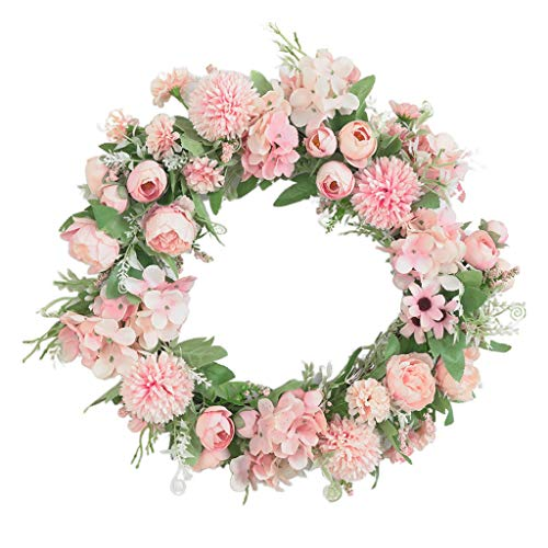 #N/A Artificial Peony Flower Wreath Hanging Garland, for Door Farmhouse Wall Indoor Outdoor Decor - Light Pink