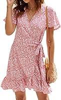Naggoo Women's Summer Wrap V Neck Polka Dot Print Ruffle Short Sleeve Mini Floral Dress with Belt