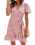 Naggoo Women's Summer Wrap V Neck Polka Dot Print Ruffle Short Sleeve Mini Floral Dress with Belt (L, Pink)