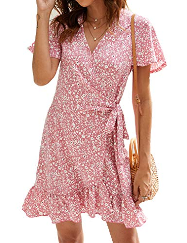 Naggoo Women's Summer Wrap V Neck Polka Dot Print Ruffle Short Sleeve Mini Floral Dress with Belt (M, Pink)