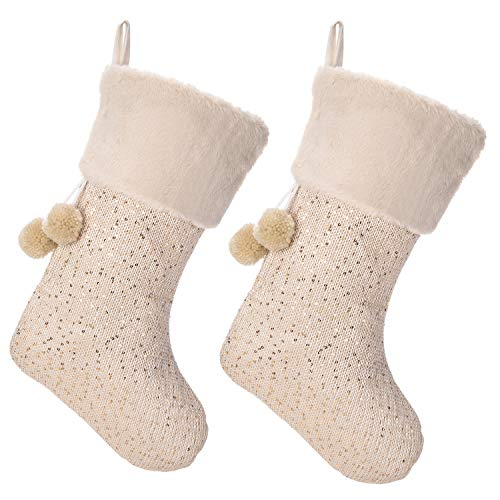 iPEGTOP 18' Luxury Wool Christmas Stocking, Champagne Gold Wool Knit with Shiny Sequin Faux Fur Cuff Yarn Balls Santa Stockings Christmas Decorations, 2 Pack