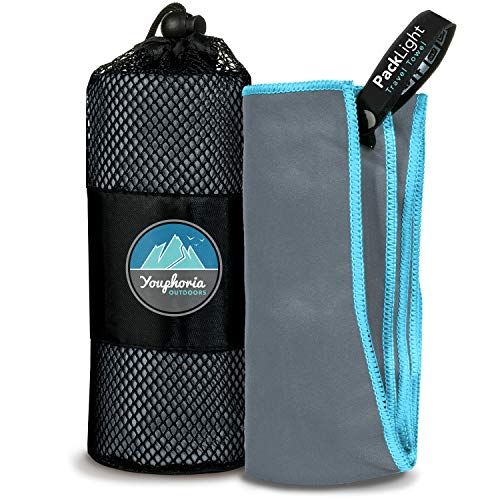 Youphoria Outdoors Quick Dry Travel Towel with Carry Bag - Compact Microfiber...