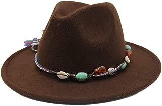 HongJie Hou Men Women Wool Fedora Hat Wide Brim Elegant Lady Fascinator Jazz Hat Gentleman Dad Church Hat Size 56-58CM