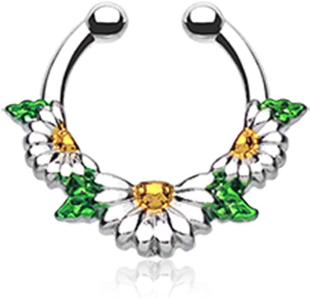 Covet Jewelry Daisy Garden Icon Fake Septum Clip-On Ring