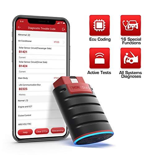 ThinkDiag Bluetooth obd2 Diagnosescanner,obd2 Bluetooth Adapter mit ECU-Codierung und aktiven Test, Fehlercode auslesen für alle System und 15 Reset Service,APP für Android und iOS
