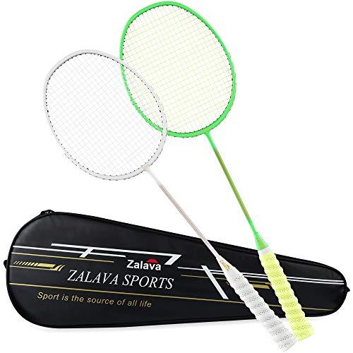 Zalava 2 Pcs Badminton Racquets Badminton Rackets Set with 1 Carring Bag,3 Feather Shuttlecock