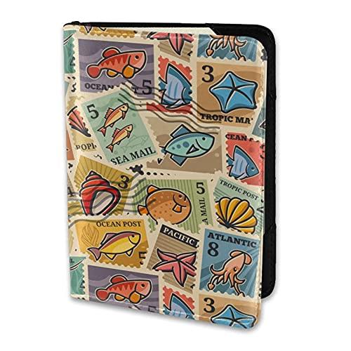 Reisepasshülle Vintage Ozean Briefmarken Papier Textur PU Leder Reisebrieftasche Reisepasshülle Reisepasshüllen 5,5 Zoll